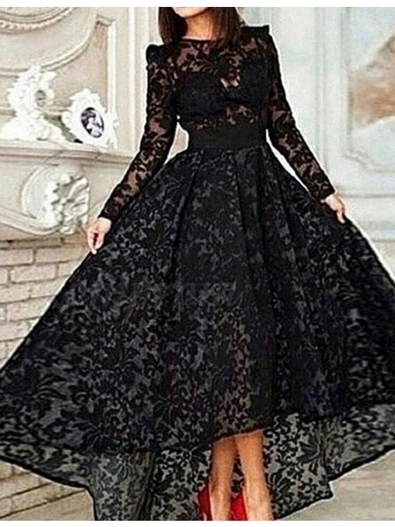 High Low Jewel Long Sleeves Black Lace Prom Dress With Sash