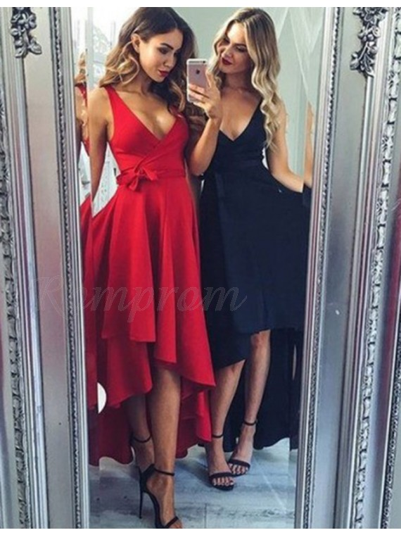 High Low Red/Navy Blue V Neck Sleeveless Prom Dress with Sash