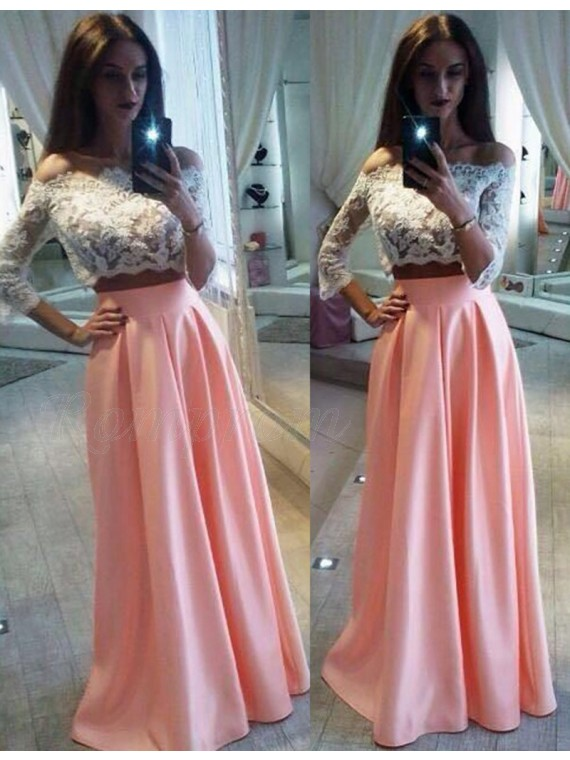 Two Piece 3/4 Sleeves Pearl Pink Off Shoulder Prom Dress with Lace