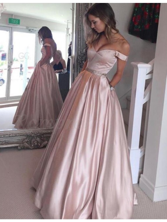 A-Line Off-the-Shoulder Pearl Pink Prom Dress with Beading Pockets