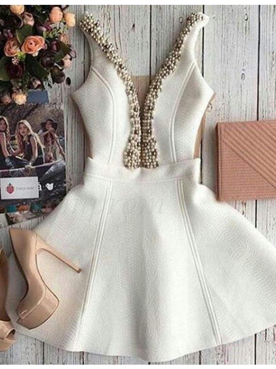 Short Ivory Deep V Neck Prom Homecoming Dress with Beading Pearls