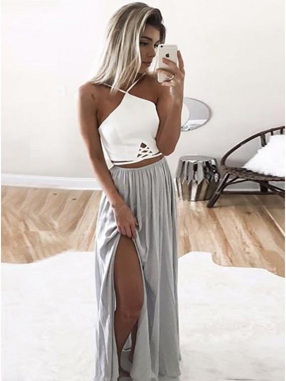A-Line V-Neck Floor-Length Gray Chiffon Prom Dress with Pleats