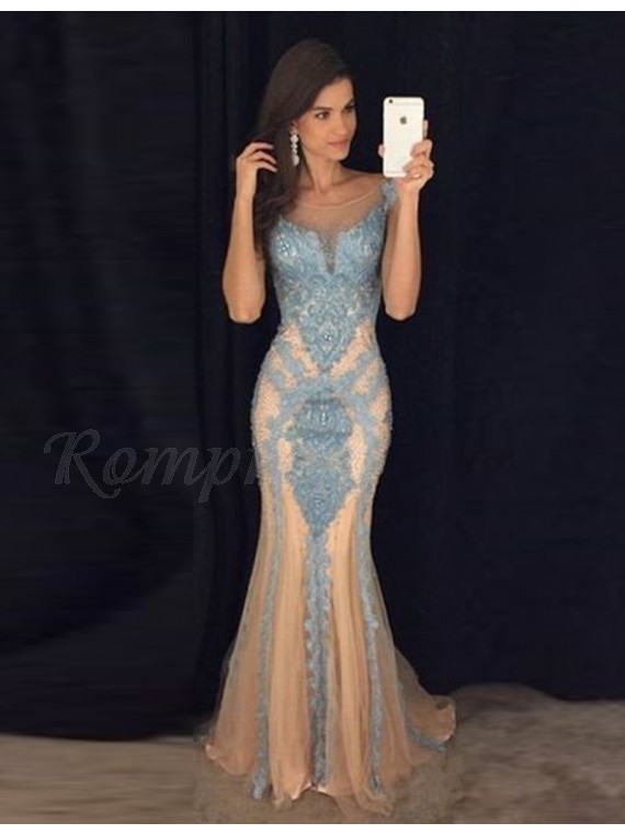 Backless Apricot Scoop Long Mermaid Prom Dress with Beading Appliques