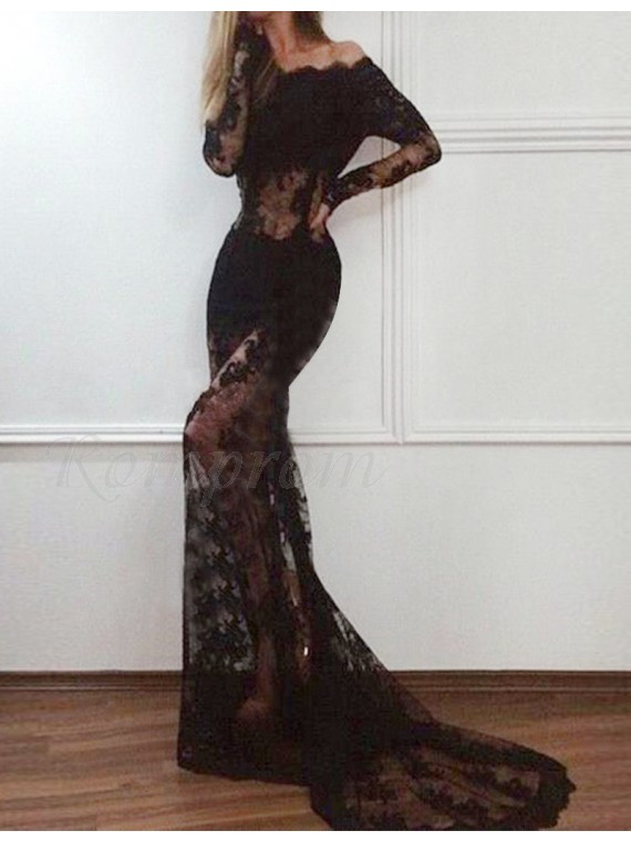 d08bc22d416 Off-the-Shoulder Black Prom Dress with Sleeves Lace Mermaid Evening ...
