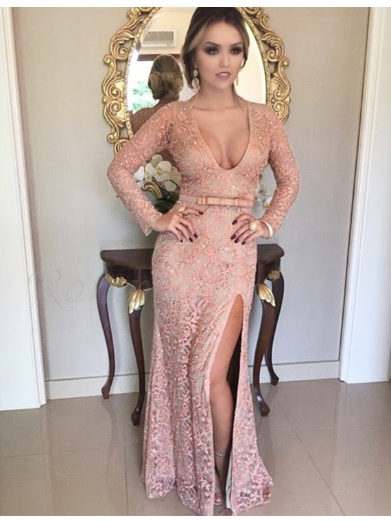 Sheath Pink Long Sleeves Lace Scoop Beading Split Sash Prom Dress
