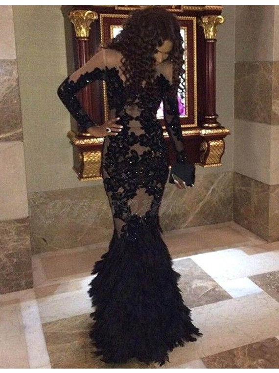 Mermaid Jewel Long Sleeves Beaded Black Prom Dress with Lace ...