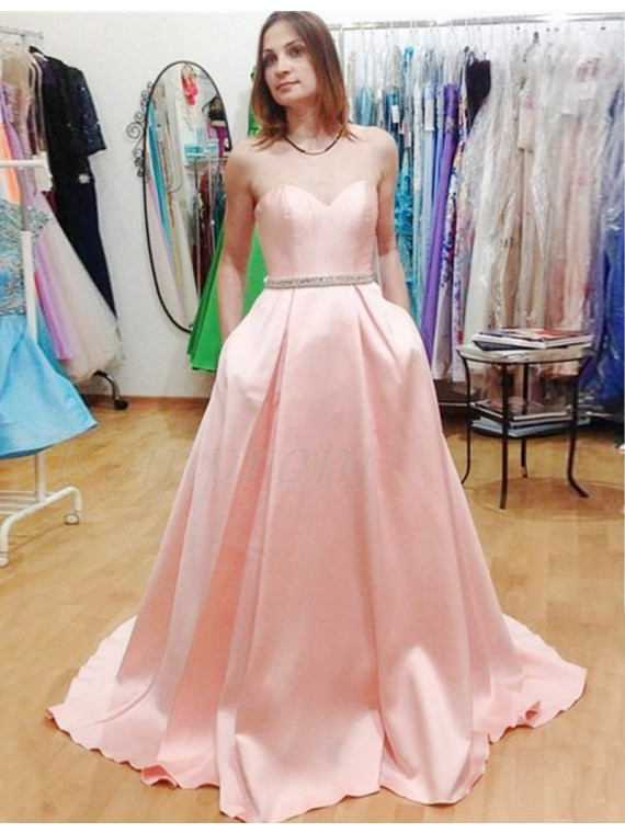 A-line Sweetheart Beading Pleated Pink Prom Dress with Pockets