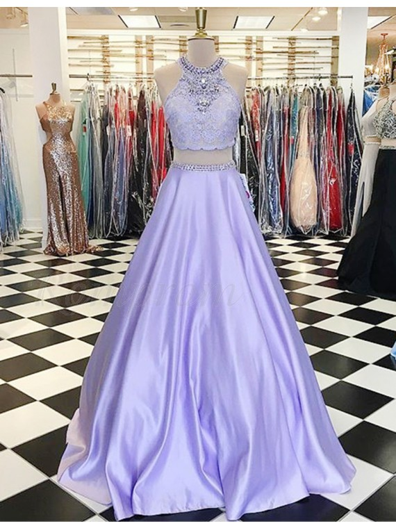 Two Piece Jewel Beading Sweep Train Lavender Prom Dress with Lace ...