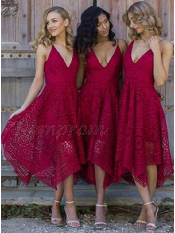 e8057d400c6bb A-Line Spaghetti Straps Asymmetrical Burgundy Lace Bridesmaid Dress ...