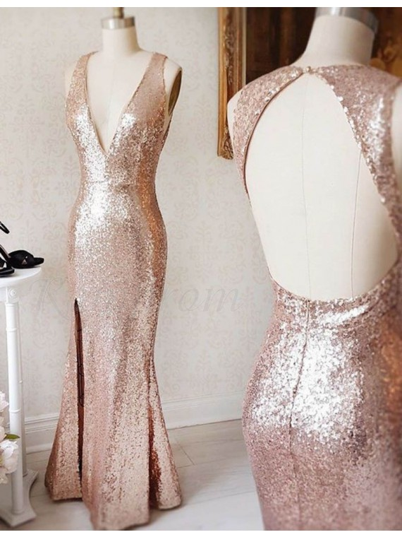Mermaid Deep V-neck Open Back Rose Gold Split Sequined Long Prom ...