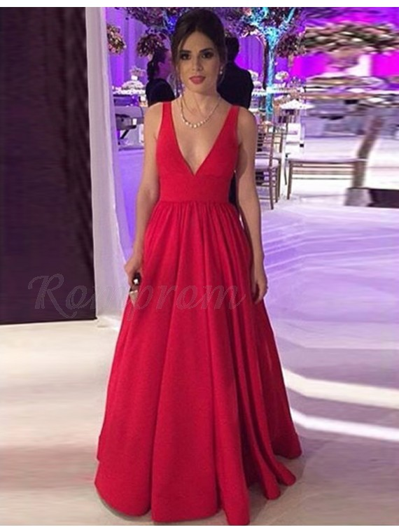 A-Line V-Neck Backless Dark Red Satin Prom Dress with Pleats