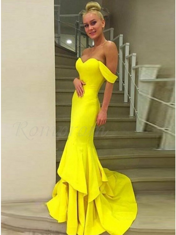 Mermaid Off-the-Shoulder Tiered Sweep Train Yellow Prom Dress