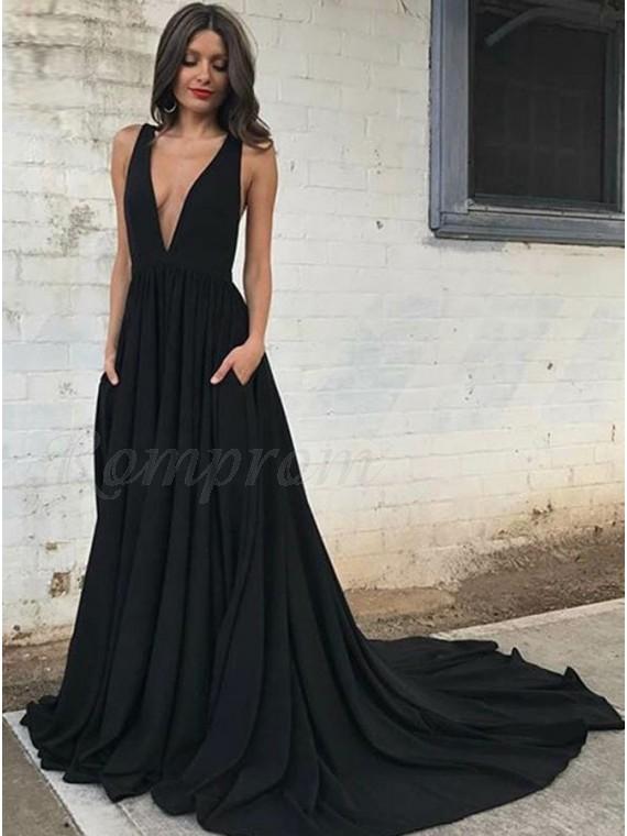 A-Line Deep V-Neck Sweep Train Backless Black Prom Dress with Pockets
