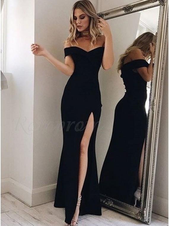 Mermaid Off-the-Shoulder Floor-Length Slit Leg Black Prom Dress