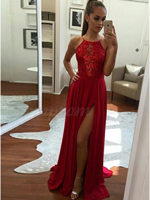 b620c0cc9214 A-Line Halter Backless Slit Leg Red Prom Dress with Lace - $117.69 ...