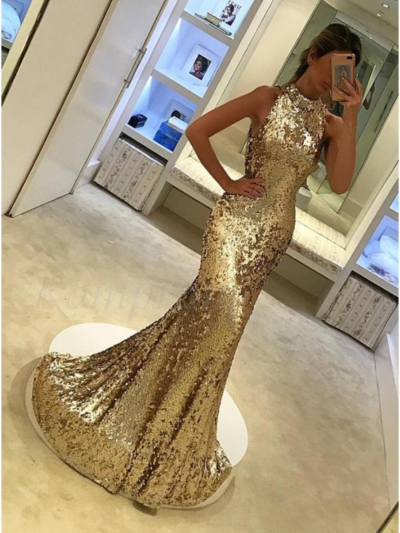 Mermaid High Neck Sleeveless Gold Long Sequined Prom Dress