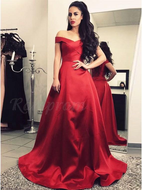 A-Line Off-the-Shoulder Floor-Length Dark Red Prom Dress