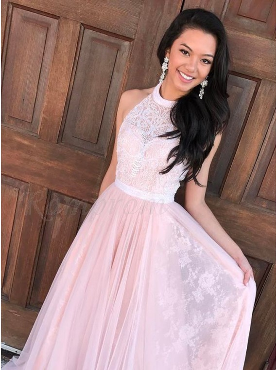 A-Line Round Neck Pink Gorgeous Prom Dress with Lace Appliques