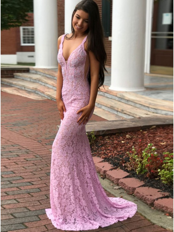 Mermaid Deep V-Neck Sweep Train Backless Pink Lace Prom Dress with Beading