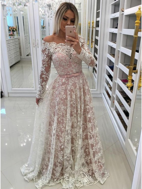 A-Line Off-the-Shoulder Long Sleeves Blush Prom Dress with Lace Appliques Sashes
