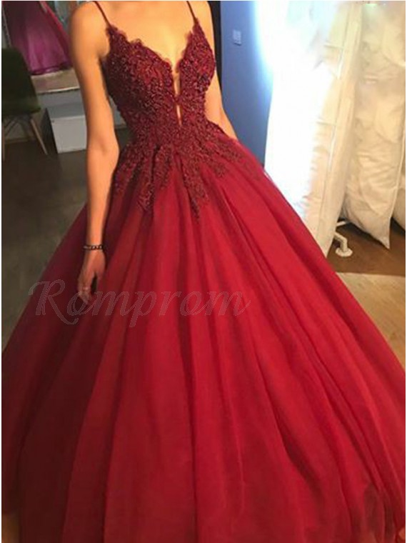 Ball Gown Spaghetti Straps Long Burgundy Prom Dress with Appliques Beading