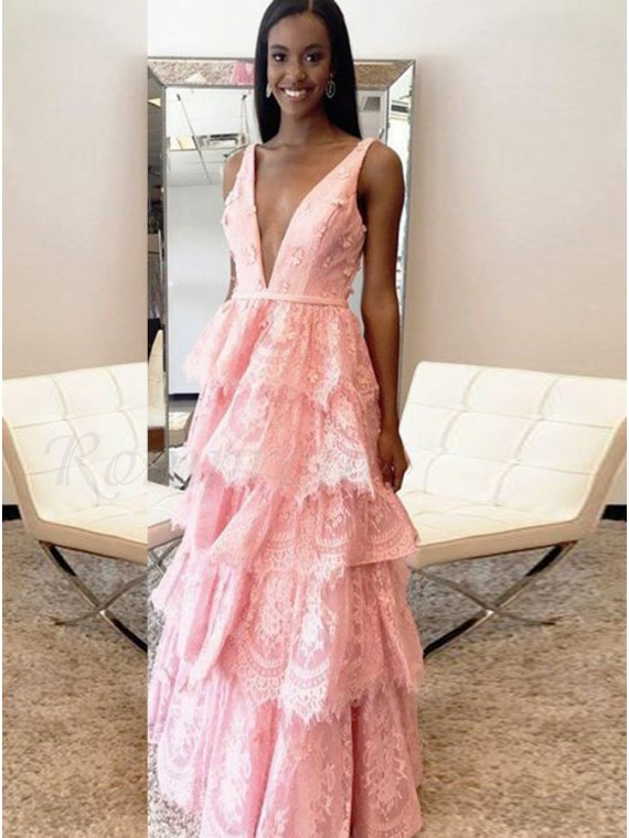 A-Line Deep V-Neck Backless Pink Lace Prom Dress with Appliques ...