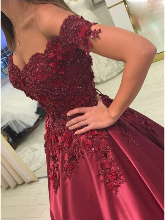 Ball Gown Off-the-Shoulder Burgundy Prom Dress with Appliques Beading