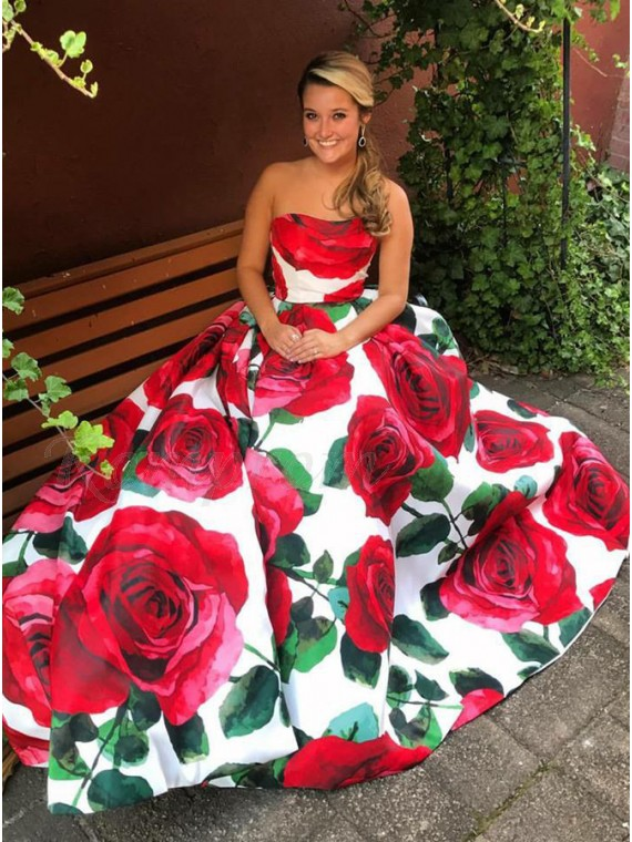 A-Line Sweetheart Sweep Train Floral Red Satin Prom Dress with Pleats