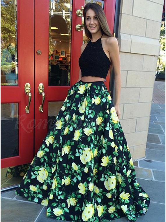 335445664fb Halter Two Piece Prom Dress with Lace Pleats Floral Party Dress ...