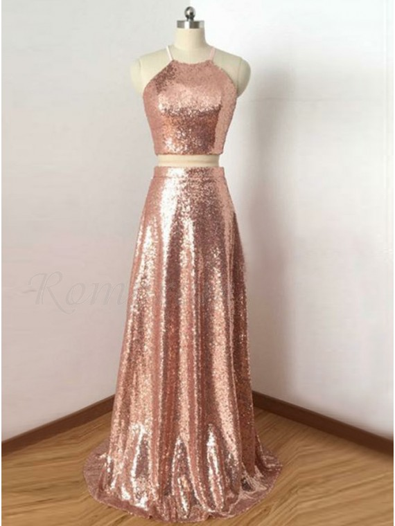 Two Piece Round Neck Open Back Rose Gold Sequined Prom Dress ...
