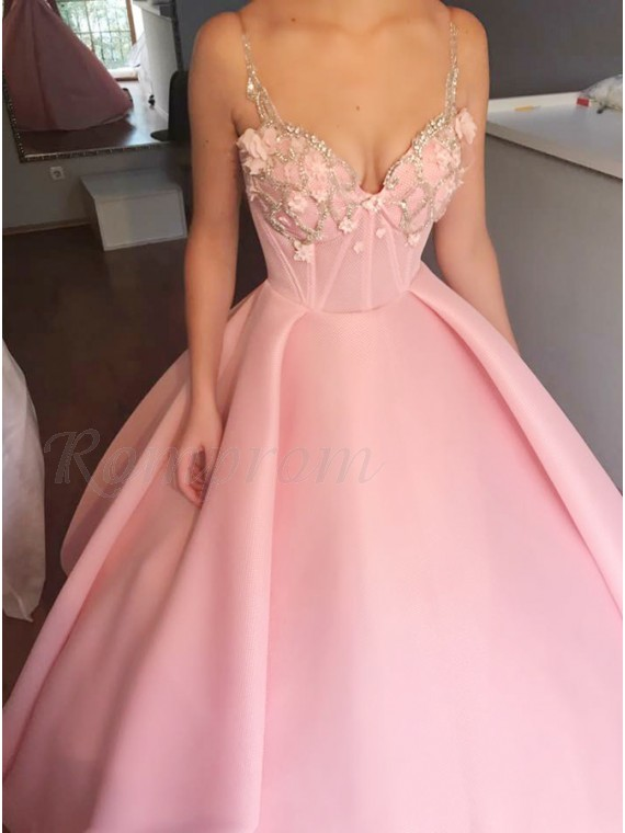 Ball Gown Spaghetti Straps Pink Satin Prom Dress with  Appliques Beading