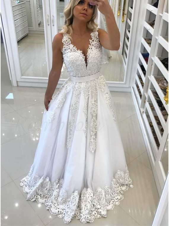 A-Line Deep V-Neck Backless White Tulle Prom Dress with Appliques Pearls