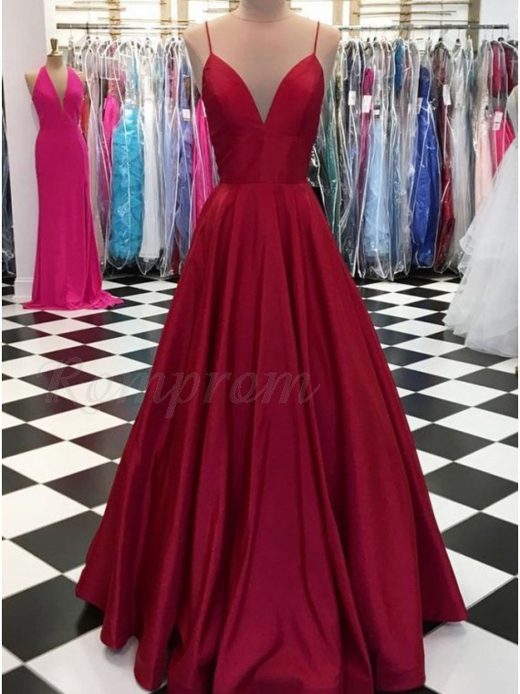 Satin Burgundy Simple Prom Dress Spaghetti Strap Plus Size Formal ...