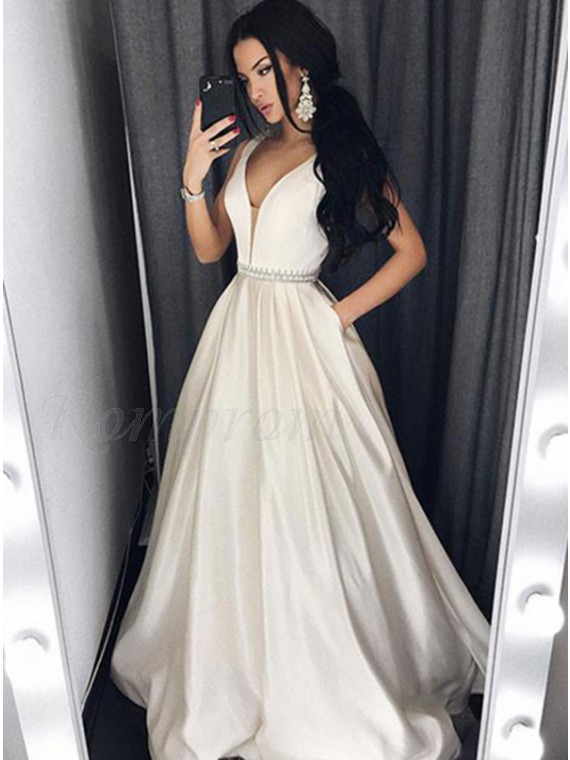 A-Line V-Neck Ivory Satin Beaded Long Simple Prom Dress with Pockets ... 39a945260