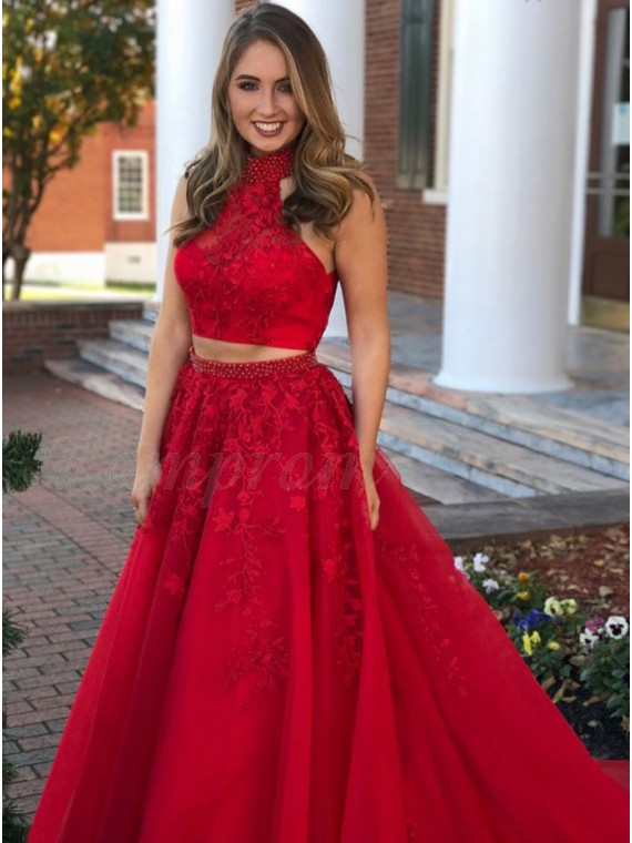 Two Piece High Neck Open Back Pearled Dark Red Prom Dress with ...