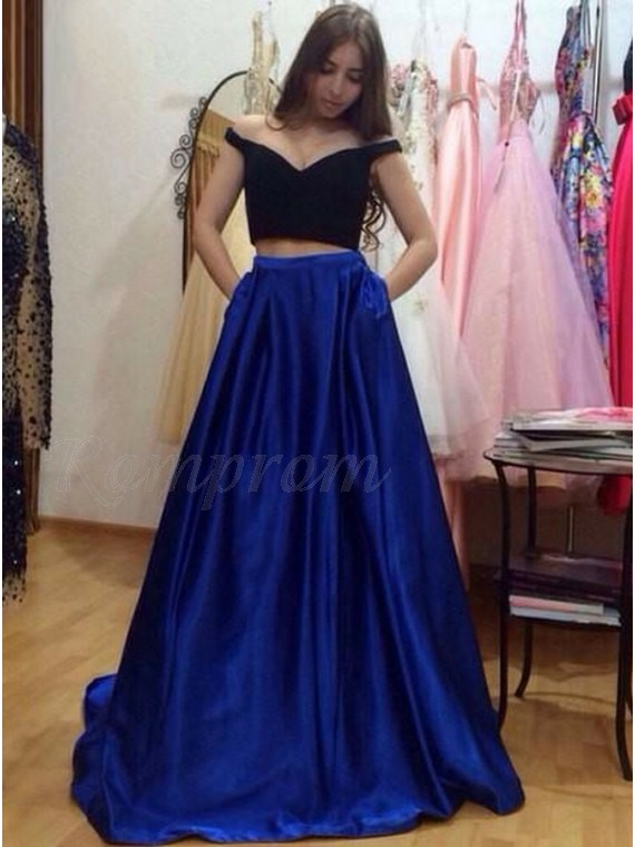 Two Piece Off-the-Shoulder Royal Blue Prom Dress with Pockets