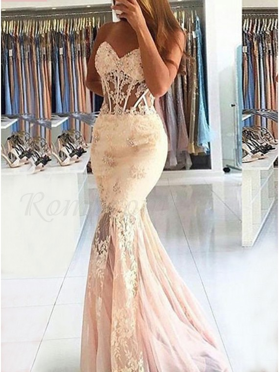 Mermaid Sweetheart Pearl Pink Prom Dress with Appliques Beading