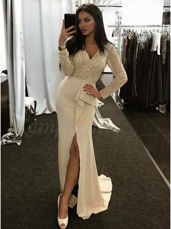Sheath V-Neck Long Sleeves Ivory Lace Prom Dress with Ruffles Sequins