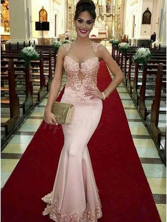Mermaid Bateau Sweep Train Open Back Pearl Pink Prom Dress with Appliques