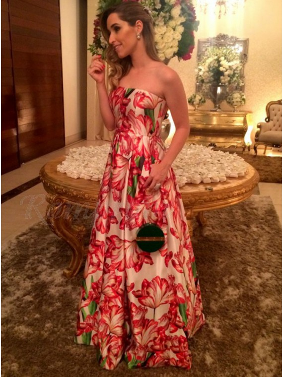 a62847aad3 A-Line Strapless Floor-Length Floral Pink Prom Dress with Pleats ...