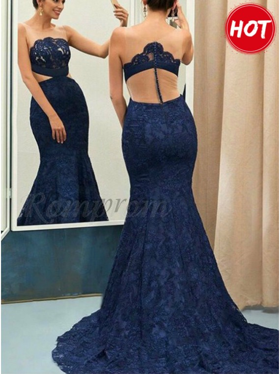 Mermaid Round Illusion Back Sweep Train Navy Blue Prom Dress