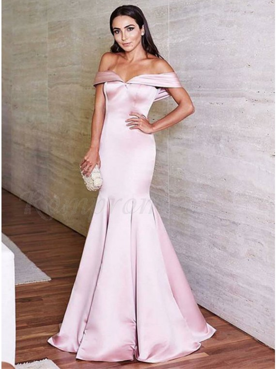 Mermaid Off The Shoulder Floor Length Light Pink Prom Dress With