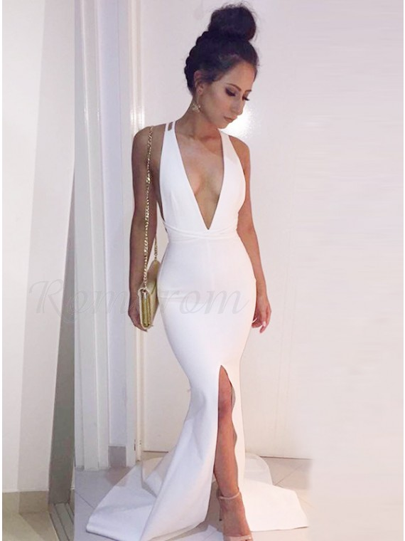Mermaid Deep V-Neck Criss-Cross Straps Slit Leg White Prom Dress ...