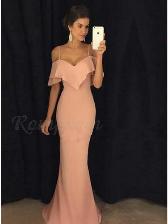 Mermaid Off-the-Shoulder Floor-Length Light Pink Ruffles Prom Dress