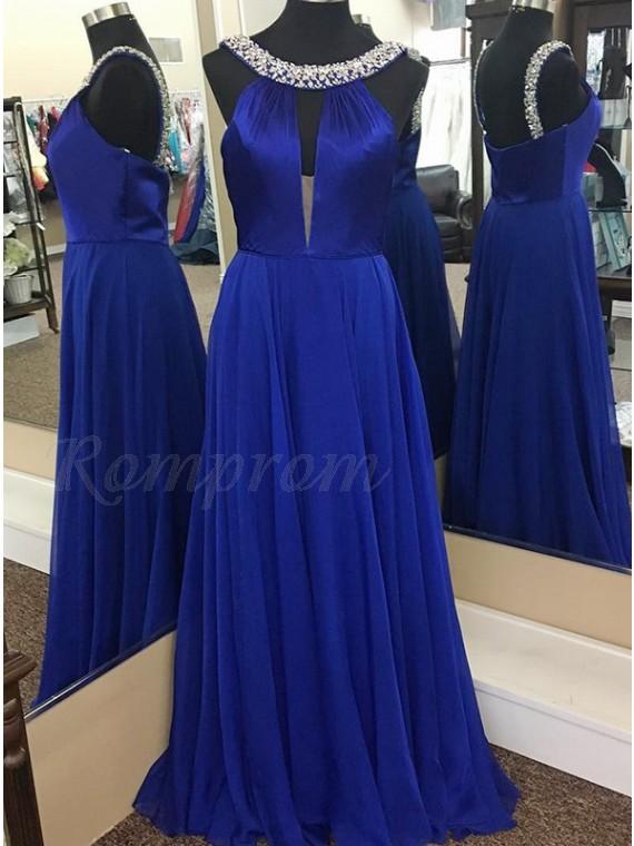 A-Line Round Neck Keyhole Royal Blue Chiffon Prom Dress with Beading