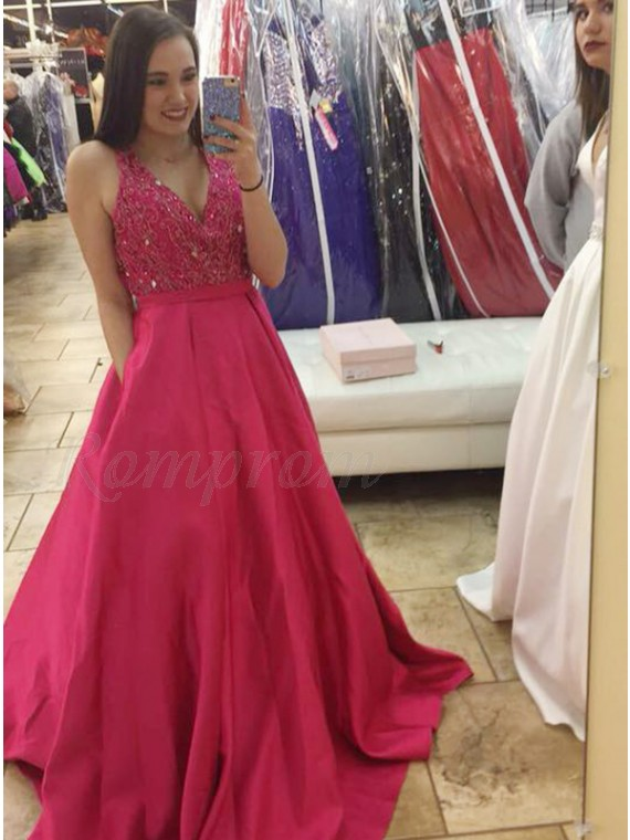 A-Line Deep V-Neck Beaded Red Satin Prom Dress with Pockets
