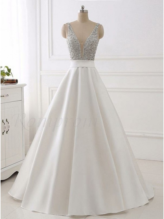 Ball Gown Deep V-Neck Sweep Train White Satin Prom Dress with ...