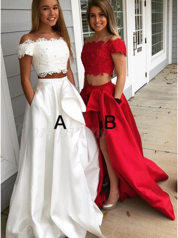 High Low Two Piece Off The Shoulder Split Prom Dress With Pockets