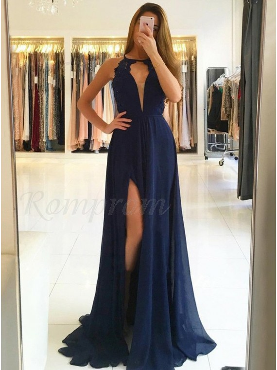 A-Line Crew Open Back Sweep Train Navy Blue Prom Dress with Lace Split