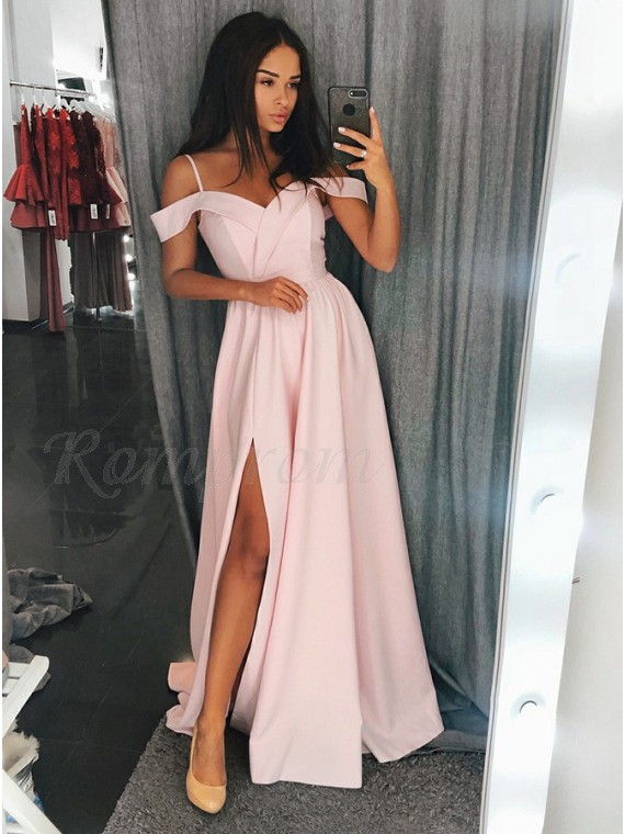 A-Line Spaghetti Straps Floor-Length Pink Prom Dress with Split